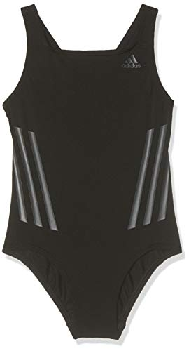 adidas Mädchen Pro V 3-Streifen Badeanzug, Black/Carbon, 164