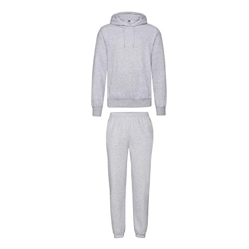 2er-Set Fruit of the Loom Hausanzug Sportanzug Jogginghose & Kapuzensweatshirt (L, Grau)