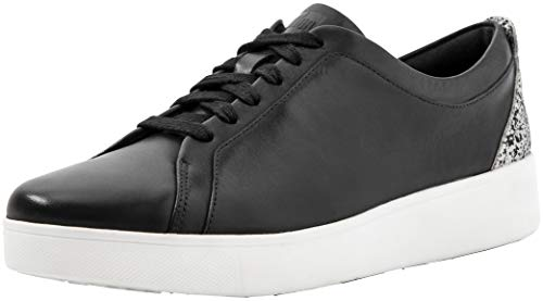 FitFlop Womens Rally Glitter Sneaker, Black Mix, Size 11