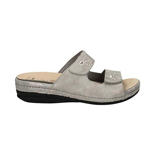 RIPOSELLA - Zapatos Sandalias para mujer 9511 piel plata original PE 2020