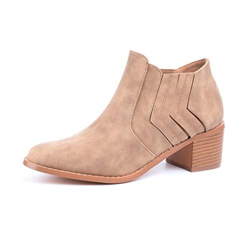 Botines Mujer Planos Tacon PU Cuero Botas Chelsea Ancho Ante Piel Casual Zapatos Invierno Moda Ankle Boots 2.5CM Negros Beige Marrón 35-43 EU (Ropa)