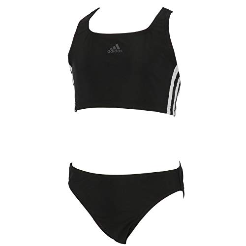 Adidas Fitness 3 Stripes Bikini Girls, Swimwear Bambina, Black/White, 9-10A