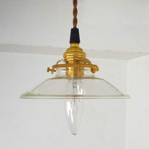 真鍮 ソケット ペンダント ライト (E17)+ガラスシェード コード長さオーダー可 (延長(2mまでコード全長260cmまでのご希望の長さ))