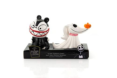 Nightmare Before Christmas Scary Teddy & Zero Ceramic Salt & Pepper Shakers - Fun Collectible Kitchen Accessory Set Featuring Tim Burton's Creepy Animated Movie Characters - Licensed 2' Tall Figurines