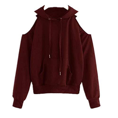 TWIFER Damen 2020 Herbst Cold Shoulder Pullover Winter Sweater Schulterfrei Hooded Sweatshirt Bluse