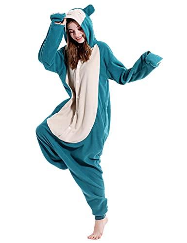 vavalad Adult Snorlax Onesies Pajamas Cosplay Animal Homewear Sleepwear Jumpsuit Costume Women Men, M-Height 5'3″-5'7″, Medium
