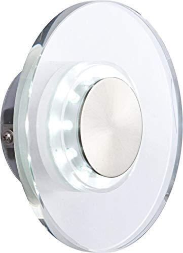 Lampe extérieure acier affiné poli, clair, rond, seulement DEL IP44, D:150, H:55, incl. 10xDEL 0,06W 3V, blanc