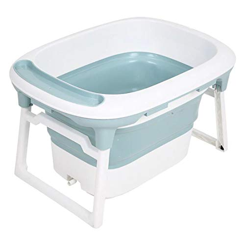 YUYAXBB opvouwbare baby opvouwbare bad, baby inklapbare draagbare douchecabine met verandering kleur volgens temperatuur siliconen plug dubbele afvoer reizen, blauw