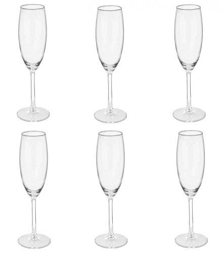 VAN WELL Sektgläser Set 190 ml 6 teilig I FOR2DAY Sektkelche 6er Set Klarglas mit Hochglanz I Champagnergläser und Proseccogläser I Kristallglas Trinkgläser für Sekt & Champagner