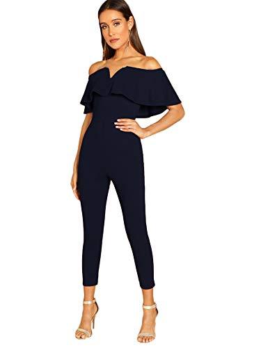 Verdusa Women's Elegant Off Shoulder Ruffle High Waist Long Jumpsuit Navy M