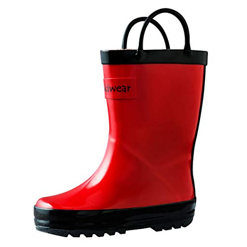 OAKI Kids Rubber Rain Boots with Easy-On Handles, Fiery Red, 9T US Toddler