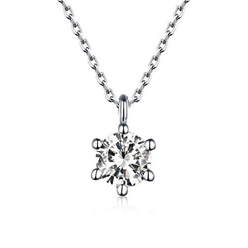 BJGCWY Collar de Piedra de circonita de Cristal para Mujer, Collares con Colgantes Redondos pequeños y Bonitos, Collares de Color Oro Rosa para Mujer