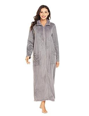 Ekouaer Women's Flannel Robe Zipper/Button Front Robes Full/Knee Length Bathrobe(S-XXL)