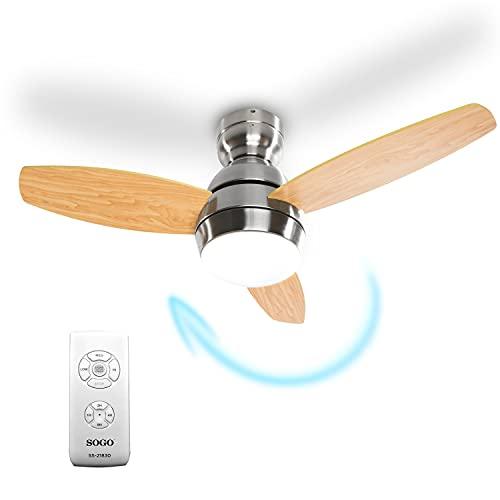 Sogo Ventilador de techo con luz LED de intensidad regulable y mando a distancia con temporizador, bajo consumo, aspas de madera prensada (91cm aspas redondeadas)