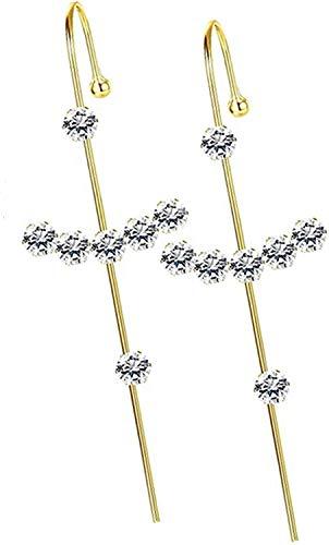 Milacolato 1-7 piezas Pendientes de Oruga para Mujer Oro Circonita Diamante de Imitación Perla Envoltura de Oreja Pendientes de Perforación de Escalador Brazalete Gancho Pendientes de Oruga de Oreja