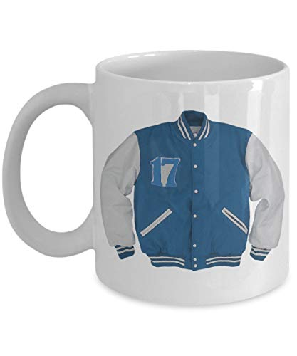 N\A Tragisch Hip College Student Becher - Blau-Weiß High School Varsity Jacke - Abschluss Brief Geschenk - und Keramik Becher für Kaffee und Tee,