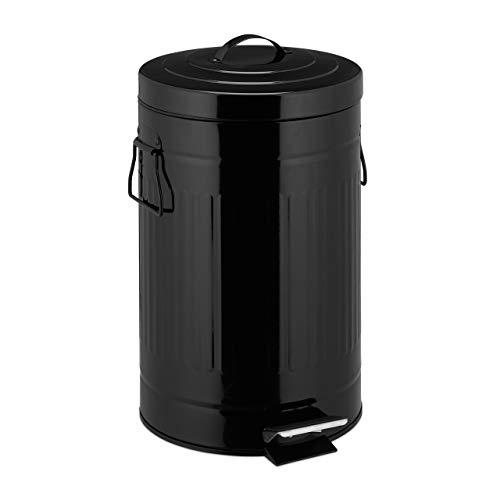 Relaxdays Treteimer Retro 12L, Inneneimer aus Kunststoff, runder Edelstahl Tretmülleimer, Bad und Küche, groß, schwarz, H x B x T: ca.40x27 x 33 cm