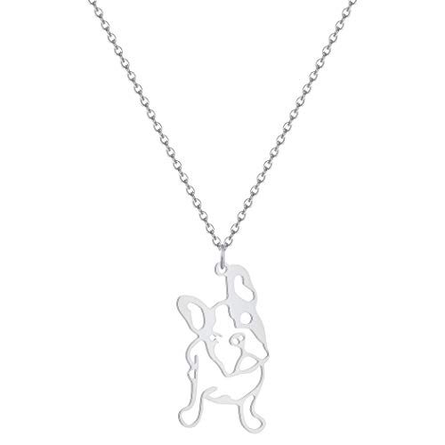 Stainless Steel French Bulldog Pendant Necklace 18+2 Inches