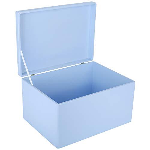 Creative Deco XXL Blau Große Holzkiste Aufbewahrungsbox Spielzeug   40 x 30 x 24 cm (+/- 1 cm)   Mit Deckel zum Dekorieren Aufbewahren   Ohne Griffe   Perfekt für Dokumente, Wertsachen und Werkzeuge