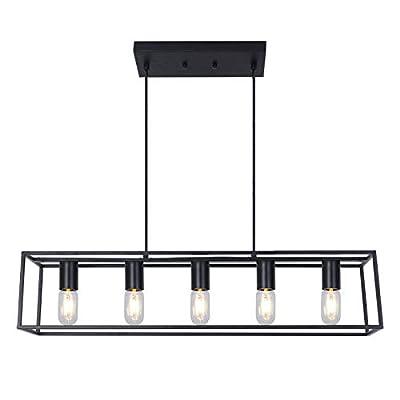 5-Light Kitchen Island Chandelier Lighting,Industrial Black Metal Frame Linear Hanging Light Fixture for Kitchen Island Dining Room. (Black, 5-Light)