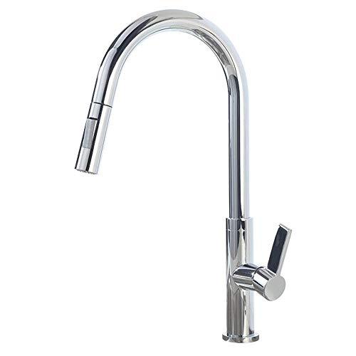 YBQ. Küchenarmaturen mit Ausziehspray, Mischbatterie, heißem und kaltem Drehhebel, Messing, Spülbecken, Wasserhahn - Chrom (Color : 1-Chrome)