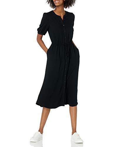 Amazon Essentials Feminine Half Sleeve Waisted Midi A-Line Dress Kleid, Schwarz, L
