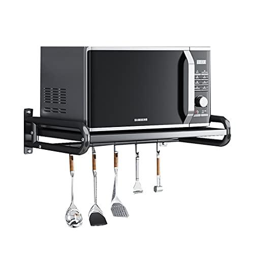 YAN QING SHOP Rack de Almacenamiento de Pared de microondas Multifuncional Negro para cocinas, Sala de Estar, Bastidor de Almacenamiento de Pared de Pared (Carga 88 Libras)