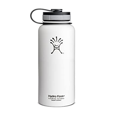 Hydro Flask Insulated Wide Mouth Stainless Steel Water Bottle, Arctic White, 32-Ounce