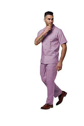 STACY ADAMS Men's Linen Shirt Pant Set (XL38, Lavender)
