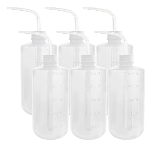 DEPEPE 6pcs 500ml Plastic Safety Wash Bottle Lab Squeeze Bottle LDPE Squirt Bottle Tattoo Bottle with Narrow Mouth and Scale Labels (17oz x 6 Bottle)