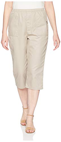Chic Classic Collection Women's Plus Size Cotton Pull-on Utility Pocket Capri with Elastic Waist, Khaki, 18W