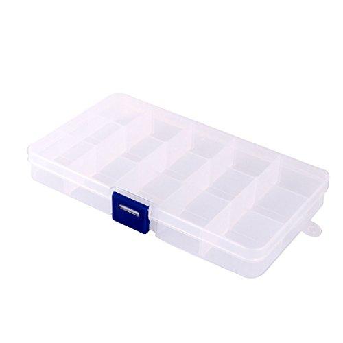 sourcingmap® Haushalt Plastik 15 Fächer Schmuck Behälter Lagerung Fall Kasten durchsichtig de
