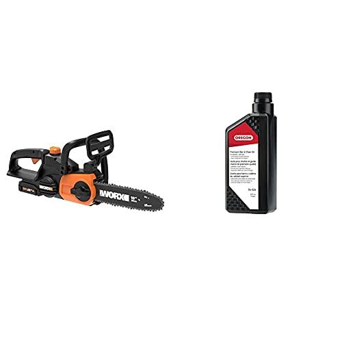 Worx WG322 20V Power Share Cordless 10-Inch Chainsaw with Auto & Oregon 54-026 Premium Bar, Season Chainsaw Lubrication Superior Quality Universal Saw Chain Oil – 1 US Quart Bottle