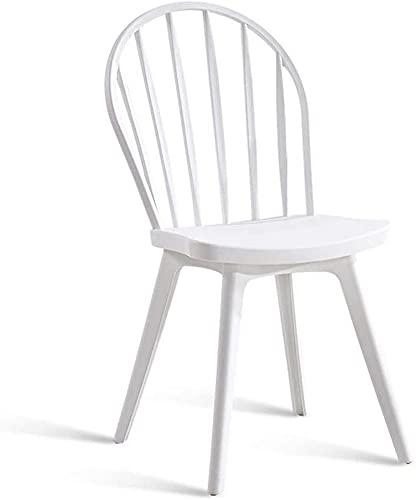 ZGYZ Moderne Möbel Windsor Stühle, Kunststoff Esszimmerstuhl stapelbar, armlose Stühle, Esszimmer, Küche, Schlafzimmer, Lounge Seitenstühle (weiß)