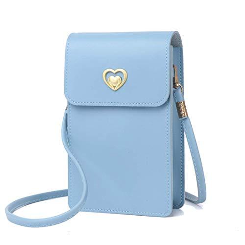 Hanbella - Mini bolso de hombro para mujer con estilo Crossbdoy y, azul (Azul claro), Small