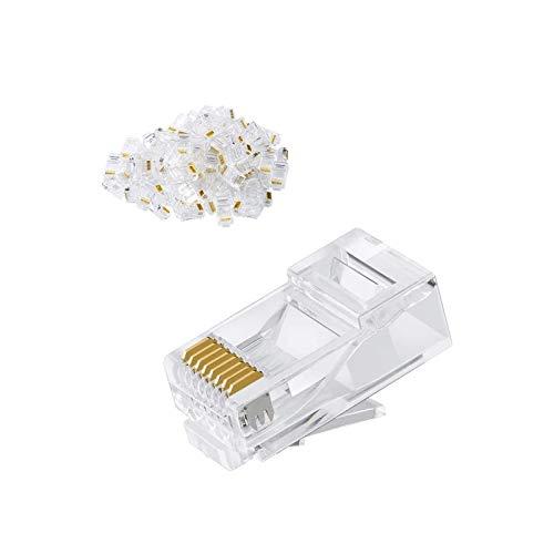 CableCreation Cat6 RJ45 Stecker, 50-Pack Crimpstecker Cat6, Cat6a/ Cat5e RJ45-Steckverbinder, UTP Ethernet-Kabel Crimp-Steckverbinder, Netzstecker für Volldraht und Standardkabel, Transparent