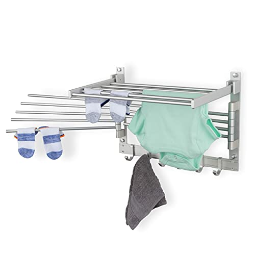 Product Image of the BGT Wash Clothes Drying Rack Wall Mount Laundry Room Organizer with Hooks & Swing Arms, 17' Metal Laundry Rack Silver