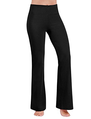 ODODOS Women's Boot-Cut Yoga Pants Tummy Control Workout Non See-Through Bootleg Yoga Pants,Black,Medium