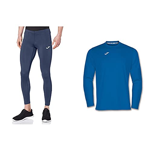 Joma Skin 100088 Pantalones térmicos, Hombre, Marino, M + 100092.700 Camiseta De Equipación De Manga Larga para Hombre, Color Azul Royal, Talla M