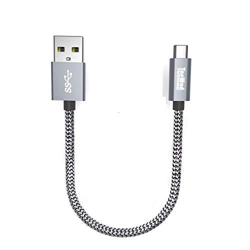 TecMad USB C Kabel, 0.2M Nylon Typ C Ladekabel USB 3.0 auf USB-C Ladekabel für Galaxy S8 S9 Plus/Note 8,Nexus 5X 6P,OnePlus 6/5,Apple MacBook,Lumia 950/950XL,Google ChromeBook Pixel,Sony xz (Grau)