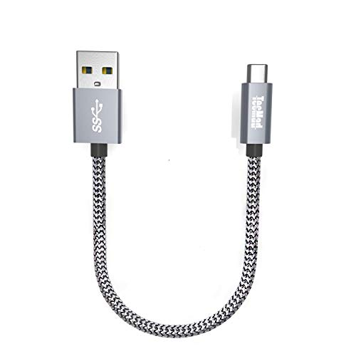USB C Kabel, TecMad 0.2M Nylon Typ C Ladekabel USB 3.0 auf USB-C Ladekabel für Galaxy S8 S9 Plus/Note 8,Nexus 5X 6P,OnePlus 6/5,Apple MacBook,Lumia 950/950XL,Google ChromeBook Pixel,Sony xz (Grau)