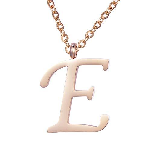 Morella Damen Halskette mit Buchstabe E Anhänger Edelstahl Rosegold in Schmuckbeutel