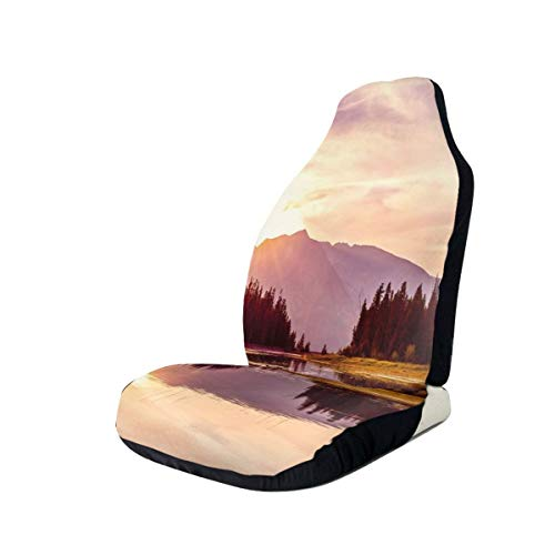 Jiger Seat Covers Vehicle Protector Car Mat, Grand Teton Mountain Range at Sunset Jackson Lake Calm National Park USA, Fit Most Cars, Sedan, Truck, SUV 2 PCS Multi-coloured