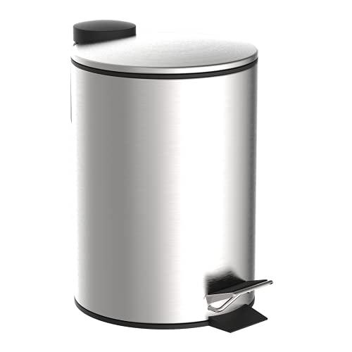EISL Kosmetikeimer Bad (3 Liter) aus Edelstahl, Deckel mit Absenkautomatik, Badezimmer mit entnehmbarem Hygieneeimer, Treteimer Kosmetikmülleimer Mülleimer