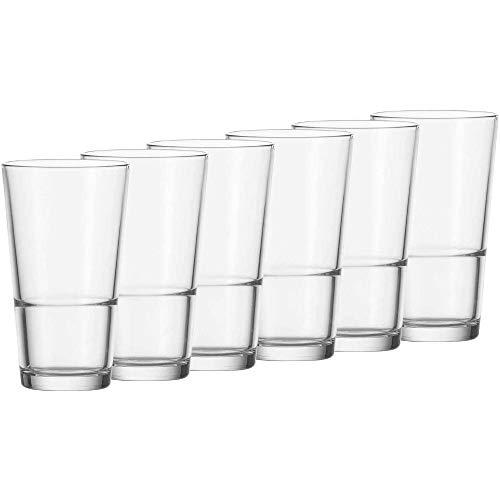 Leonardo Event Trink-Gläser, 6er Set, spülmaschinenfeste Longdrink-Gläser, Trink-Becher aus Glas im klassischen Stil, Getränke-Set, 315 ml, 010899