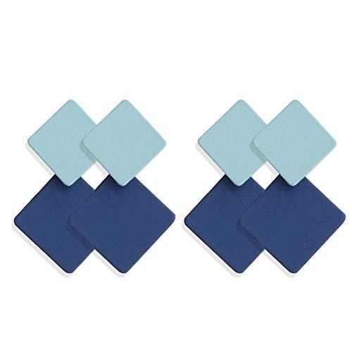 strimusimak Pendientes De Oreja De Bloque De Color De Moda, Pendientes Geométricos Cuadrados, Hipoalergénicos para Mujeres, Regalos para El Día De La Madre Azul Claro + Azul Oscuro