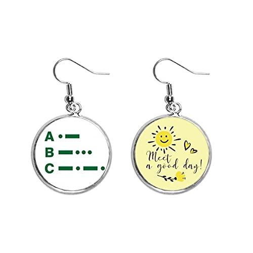 Morse Code One - Pendiente de dos puntos de representación para el oído, diseño de flor de sol