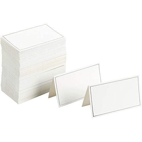 Pequeñas Tarjetas de Reserva de Mesa triangulares con borde plateado, paquete de 100, 10,2 cm x 8,9 cm