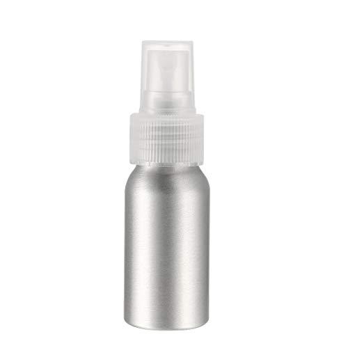 Uxcell Botella de spray de aluminio con pulverizador transparente de niebla fina, recipiente vacío, botella de viaje