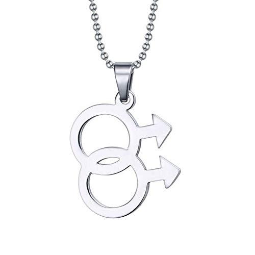 EROSPA® Halskette Anhänger Doppel-Male-Symbol - Herren/Männer/Jungen- Gay Homosexuell Pride LGBT - Silber